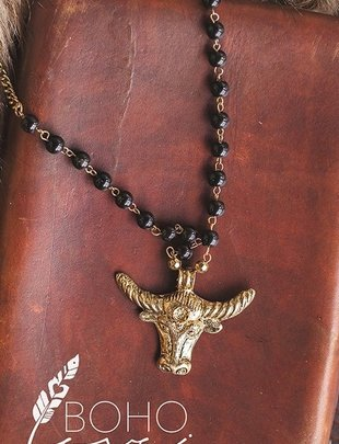Texas Bull Charm Beaded Necklace