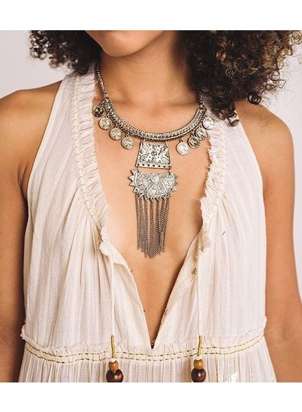 Single Layer Chunky Silver Tribal Necklace