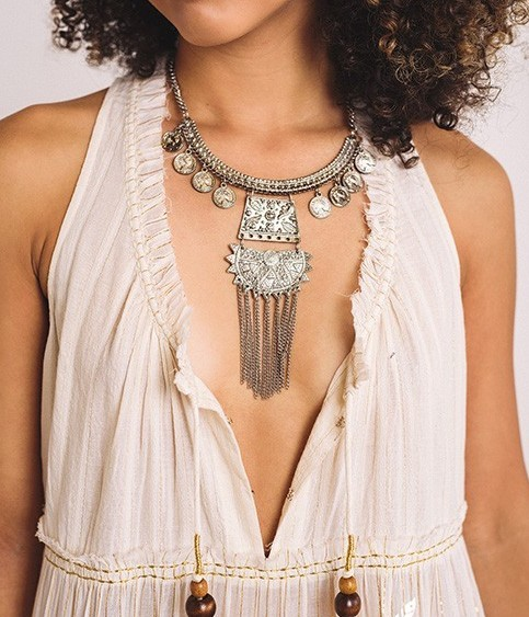 Boho Love Single Layer Chunky Silver Tribal Necklace