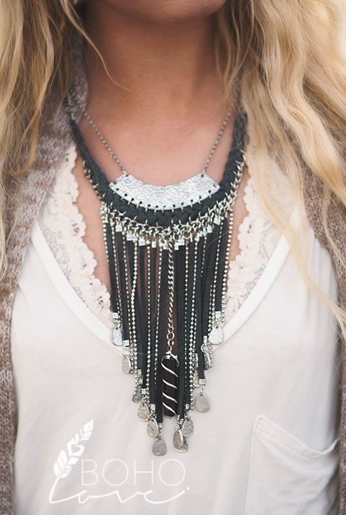 Boho Love Drop Tassel & Pendant Necklace