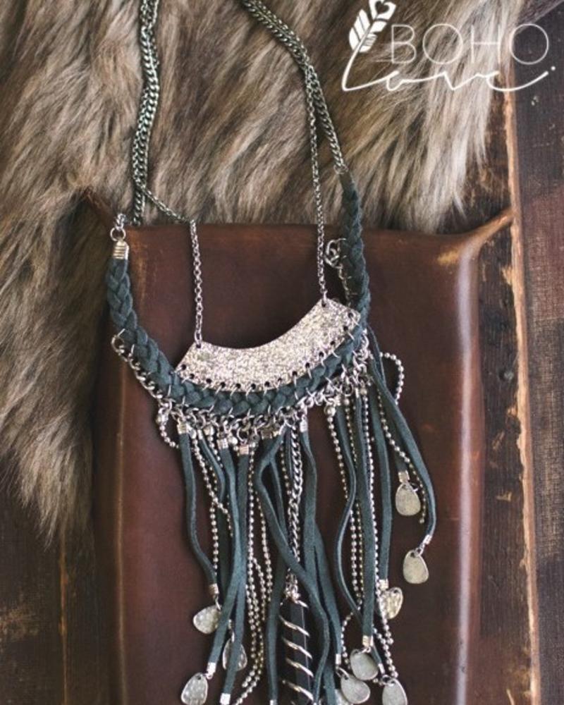 Drop Tassel & Pendant Necklace