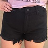 Black High Wasited Distressed Kan Can Short -