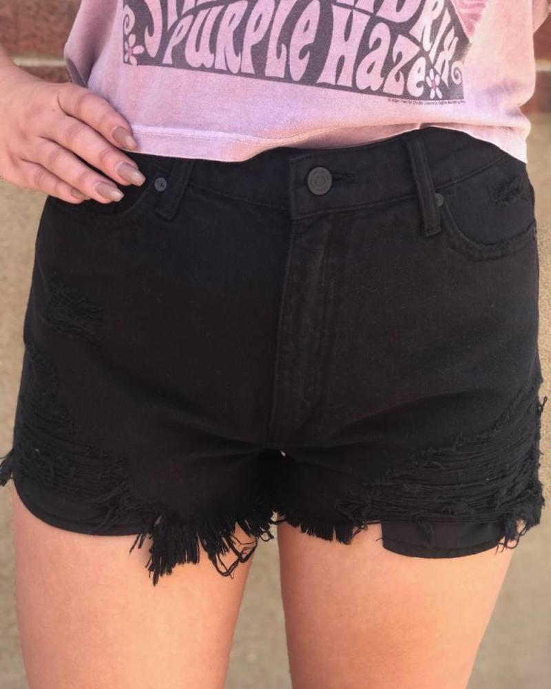 Kan Can Black High Wasited Distressed Kan Can Short -