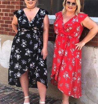Ruffle Midi Wrap Dress  -