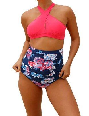 Pink and Navy Bikini Set