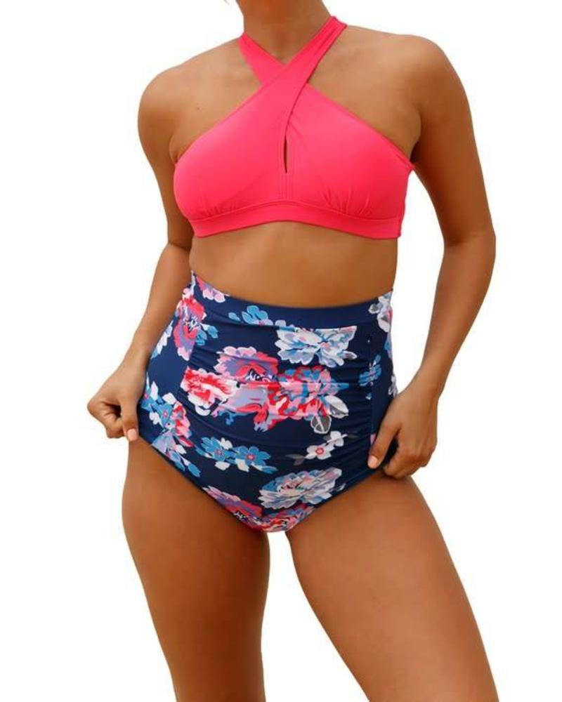 Pink and Navy Bikini Set