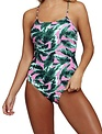 Multi Leaf Colored One Piece Bathing Suit
