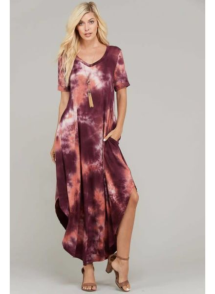 Purple & Pink Tie Dye V-Neck Dress