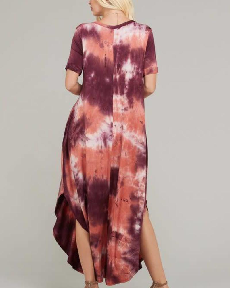 Purple & Pink Tie Dye V-Neck Dress