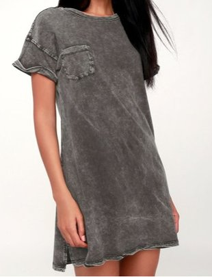 Z Supply The Washed Cotton T-Shirt Dress in Black -