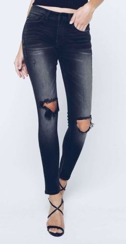 Kan Can- Chanel Pearson Black Distressed Skinny Jean