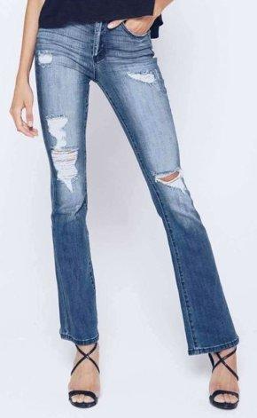 Kan Can- Kimmy Arlene Distressed Bootcut Jean