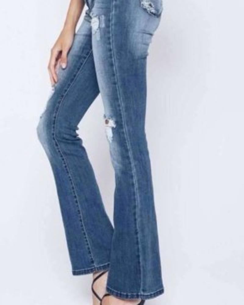 Kan Can Kan Can- Kimmy Arlene Distressed Bootcut Jean