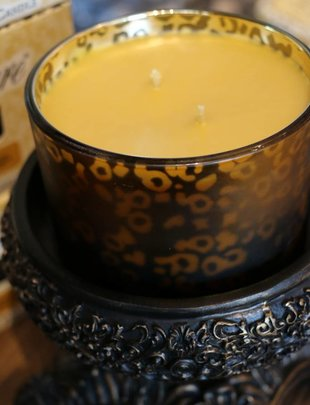 Tyler Candle 16 oz High Maintenance Stature Muted Gold Leopard Candle