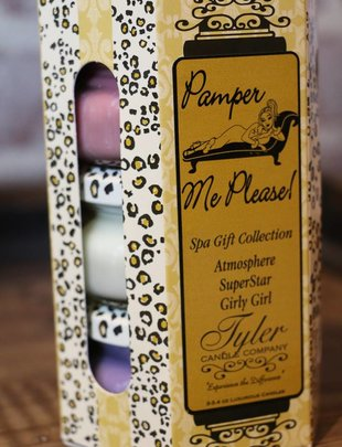 Tyler Candle 3.4 oz Pamper Me Please! Candle Gift Set