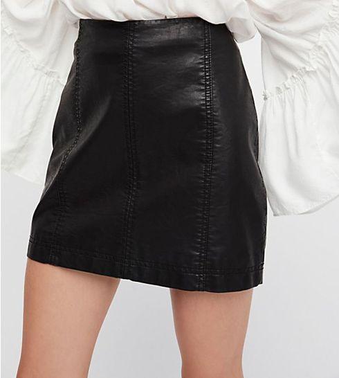 Free People Free People Black Modern Femme Vegan Mini Skirt
