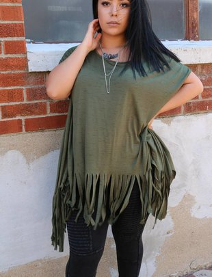 Olive Fringe Bottom Tunic