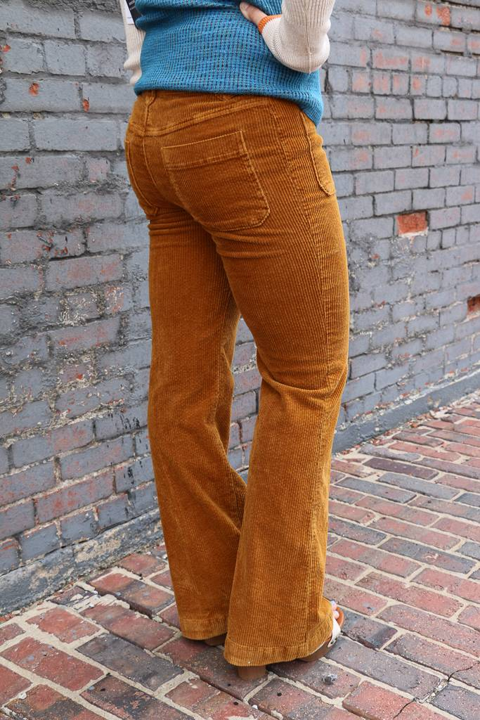 Free People Free People Mustard Hip Hugging Cord Flare Pant