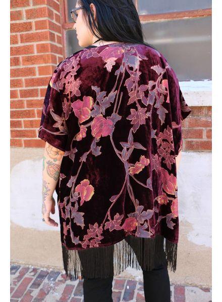 Burgundy Floral Burn-out Velvet Fringe Kimono