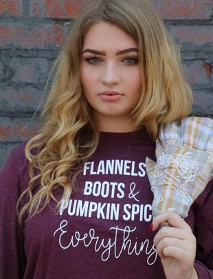 Flannels, Boots, & Pumpkin Spice Everything Long Sleeve Graphic Tee