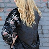 Floral Embroidered Crushed Velvet Bomber Jacket