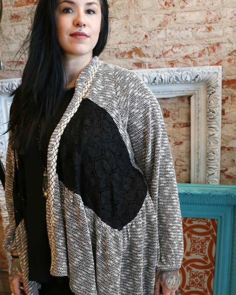 Miss Me Miss Me Lace Detail Draped Open Front High-Low Cardigan
