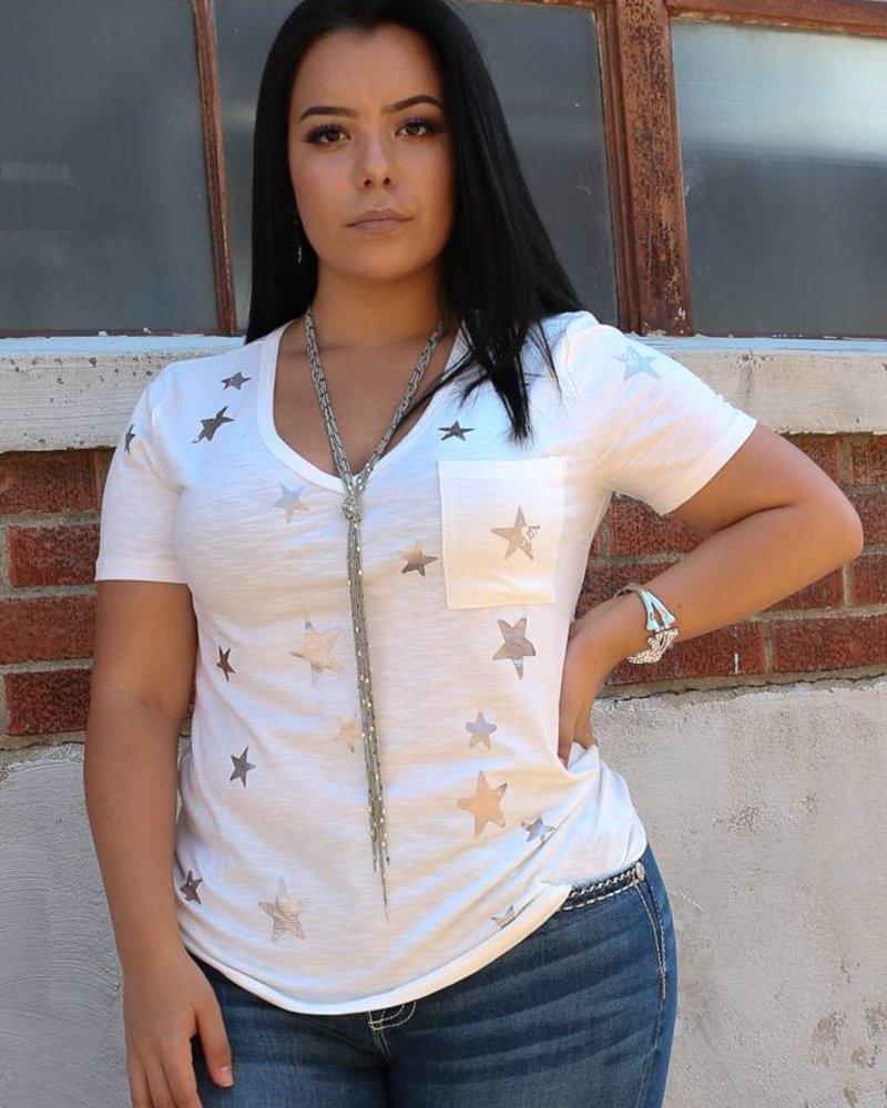 Miss Me Miss Me Star Print Short Sleeve Top