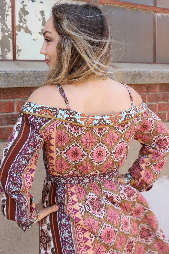 Miss Me Printed Cold Shoulder Long Sleeve Midi Dress