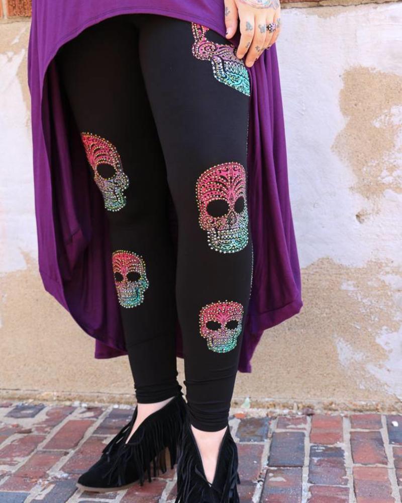 Vocal Leggings - Rhinestone Sugar Skull Leggings