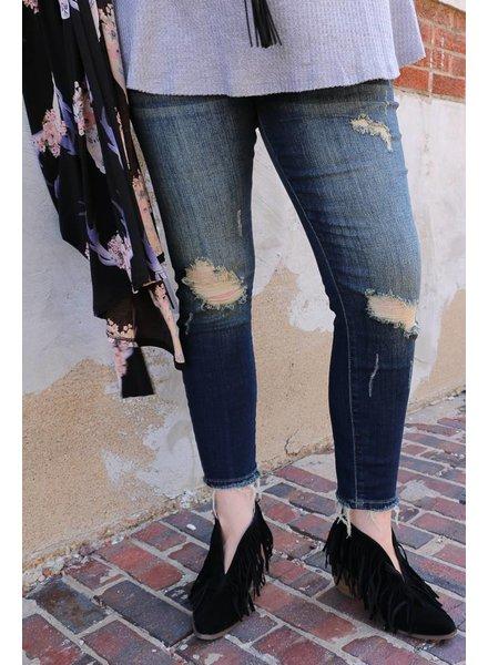 Judy Blue Denim - Dark Blue Cropped Ankle Skinny