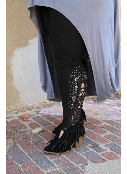 Vocal - Rhinestone Embroidered Leggings
