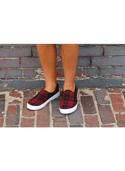 Red Plaid Reba Slip on Sneakers