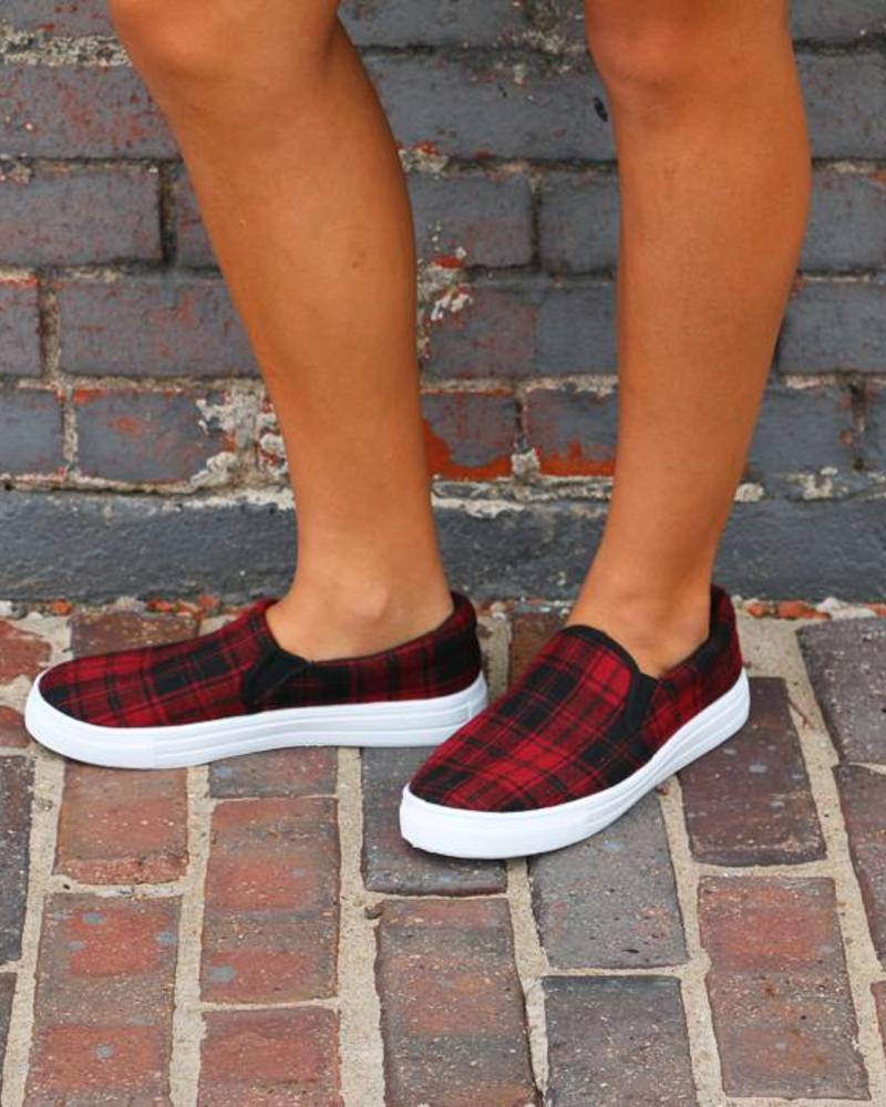 Red Plaid Reba Slip on Sneakers