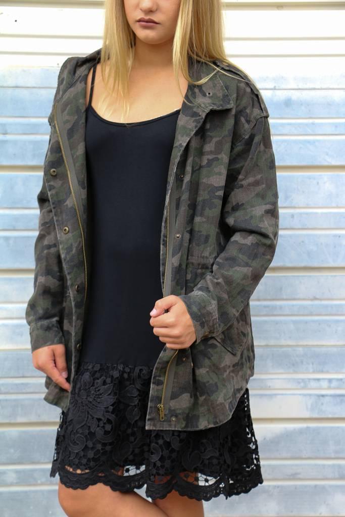 Solid Knit Cami Dress w/ Scalloped Lace Hem