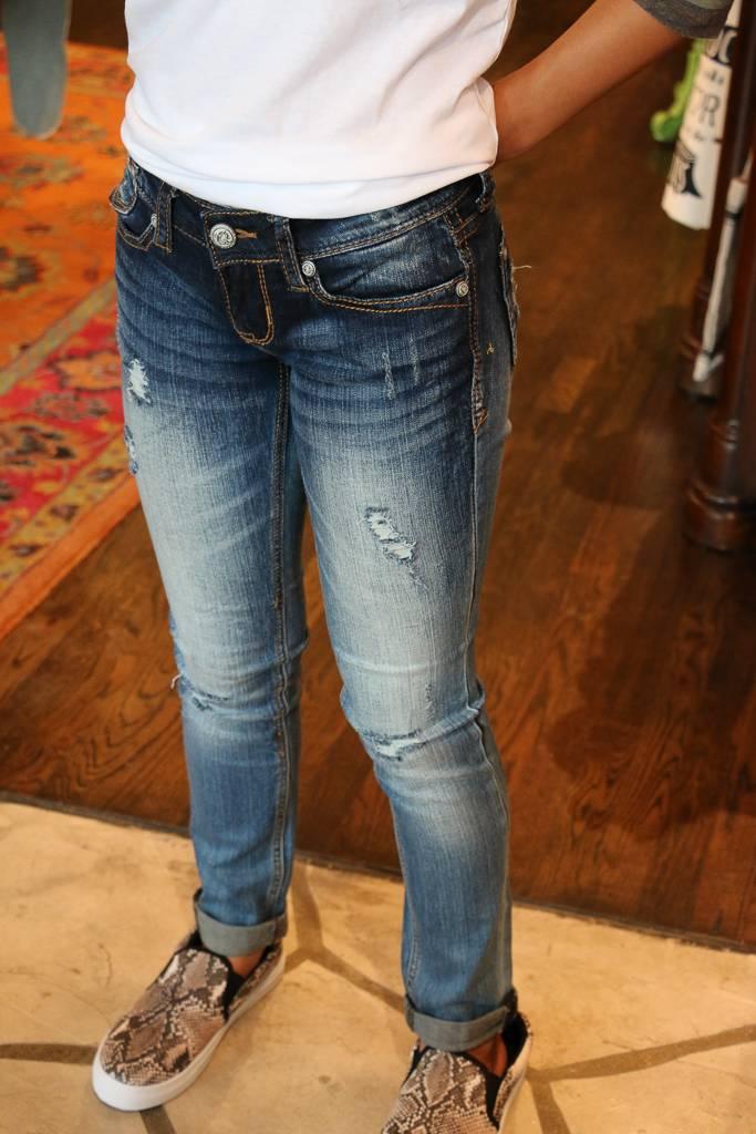 Grace in L.A. Grace in L.A. Denim - Distressed Rolled Crop Jean