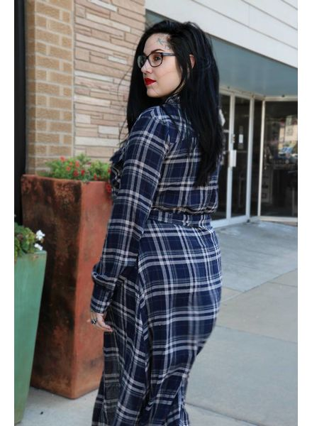 Miss Me Miss Me Belted Plaid Midi Shirt Dress