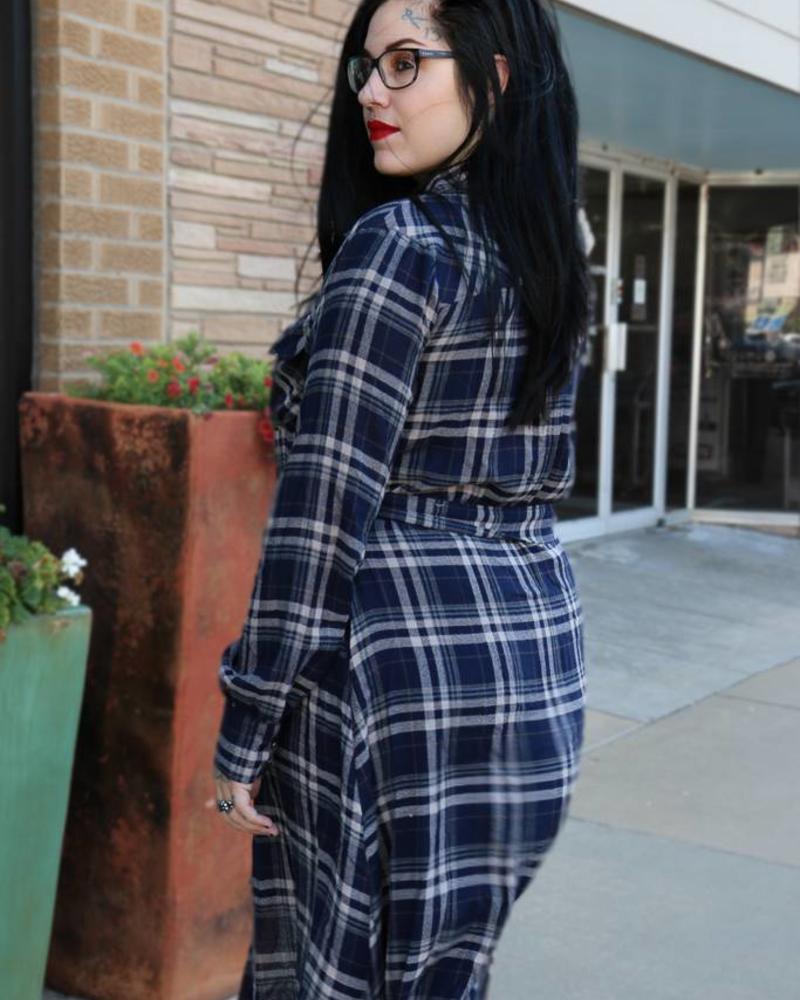 Miss Me Miss Me Belted Plaid Midi Shirt Dress