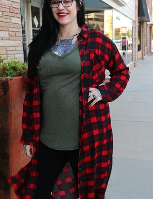 RED & BLACK PLAID BUTTON DOWN DUSTER -