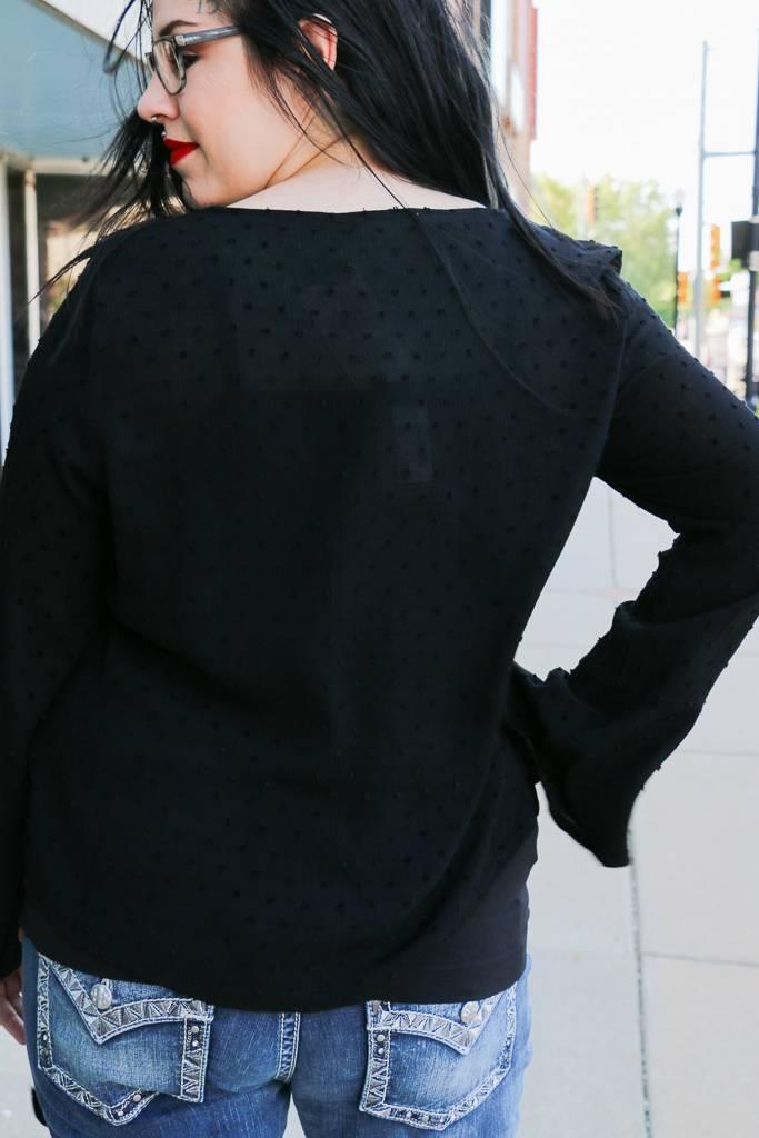 Black Tie Front Blouse -