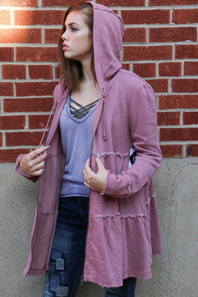 Free People Free People - Tiered Trapeze Zip-Up Jacket