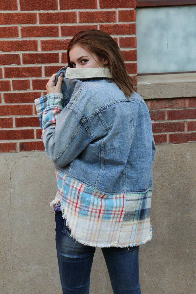 Free People Free People - Mixed Plaid Denim Jacket