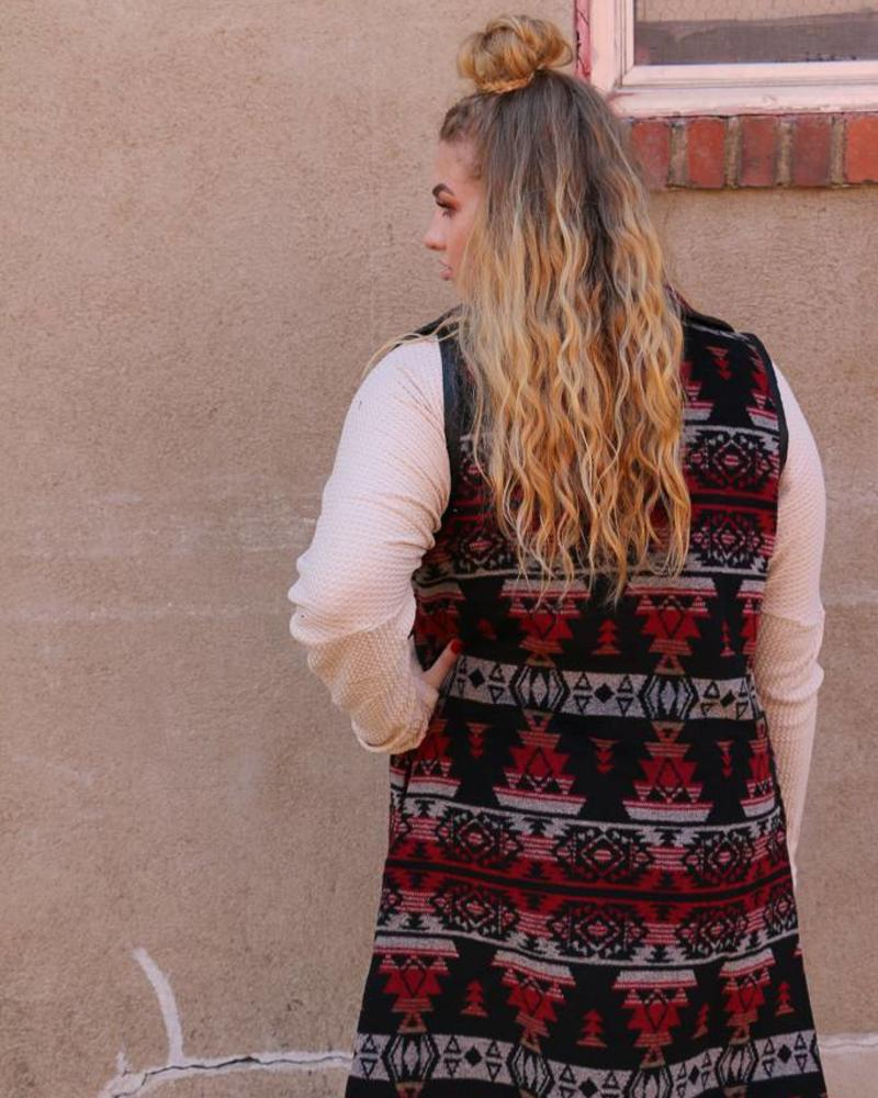 Miss Me Tribal Inspired Wrap Collar Vest -