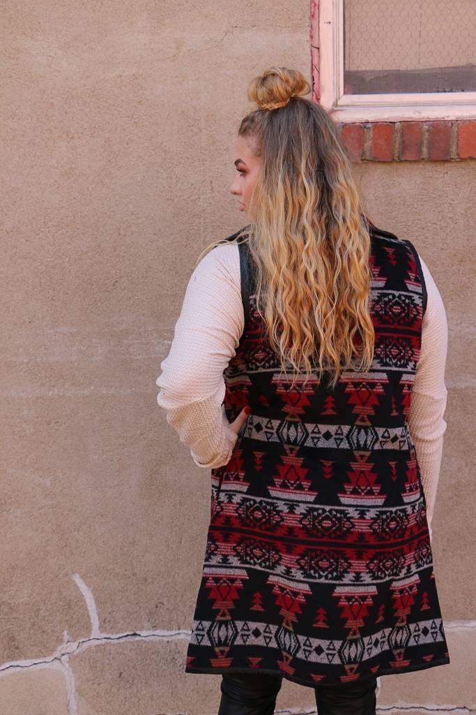 Miss Me Tribal Inspired Wrap Collar Vest -
