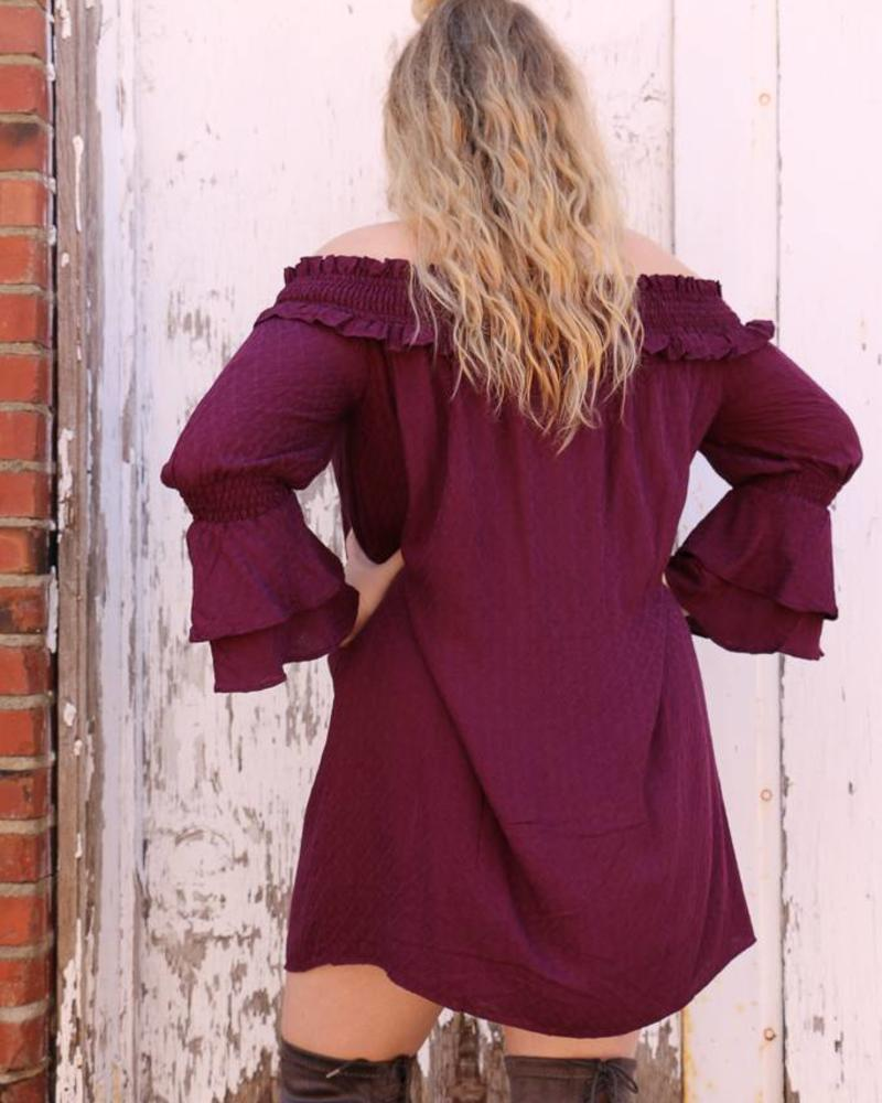 Miss Me Miss Me Ruffle Off The Shoulder Dress