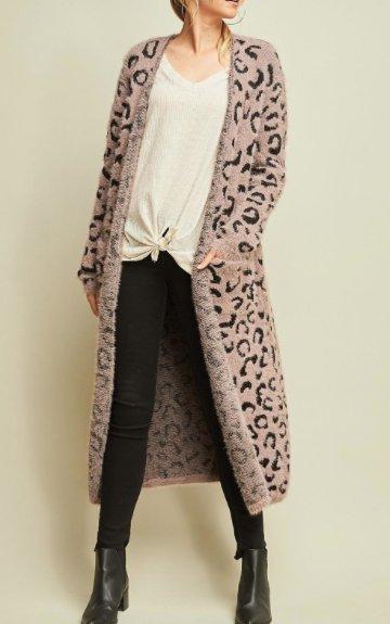Mocha & Black Leopard Cardigan  -