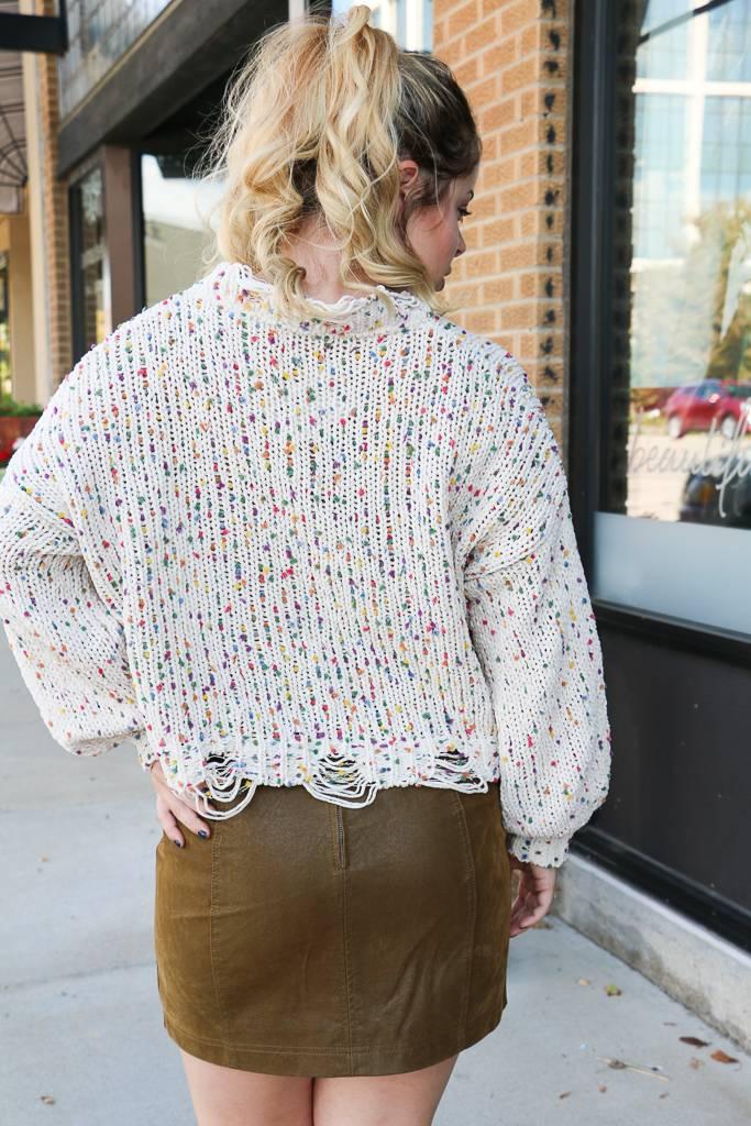 Rainbow Road Distressed Sweater -