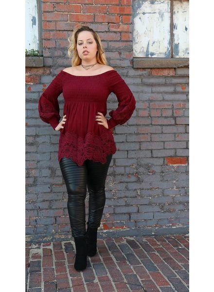 Off Shoulder Smocked Top w/ Crochet Lace Hem