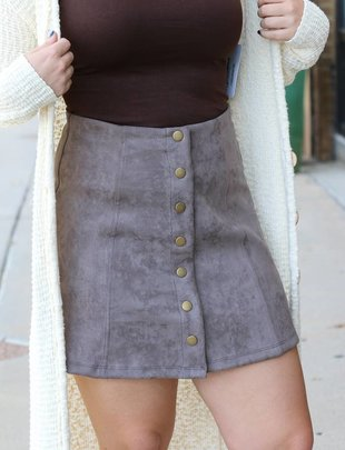 Suede Button Up Skirt -