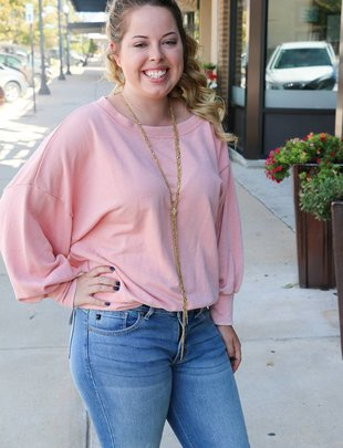PEACH LOVE CALIFORNIA BLUSH PULLOVER -
