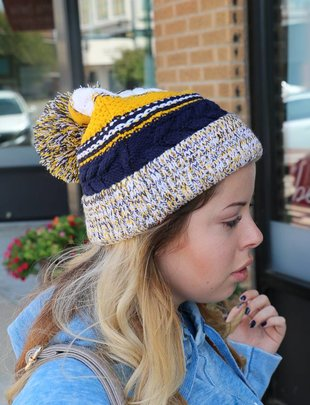 Chunky Knit School Color Beanies -